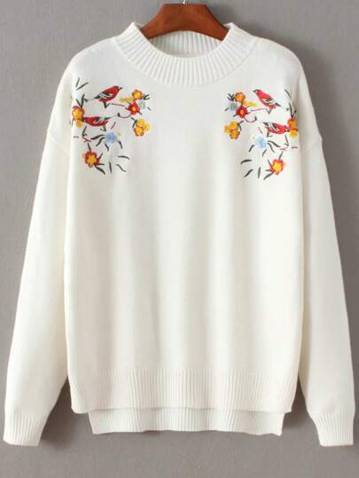 White Bird Embroidery Dip Hem Sweater