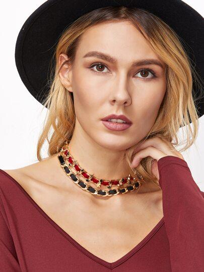 Collier ras-de-cou étoile couche double - rouge et noir