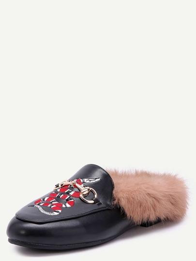 Pantofole Rifilate PU Pelliccia Ricamate Serpente - Nero