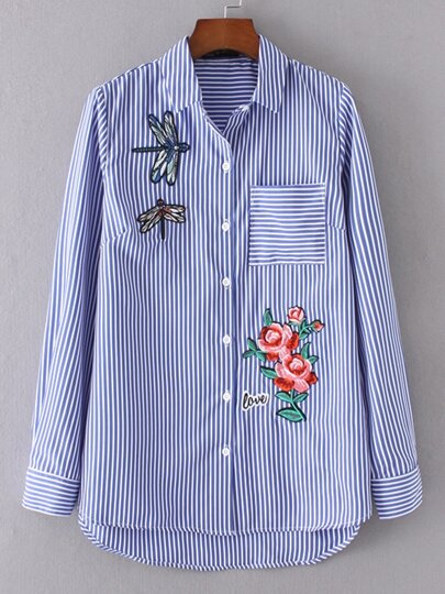 Blue Vertical Striped Embroidery Dip Hem Blouse