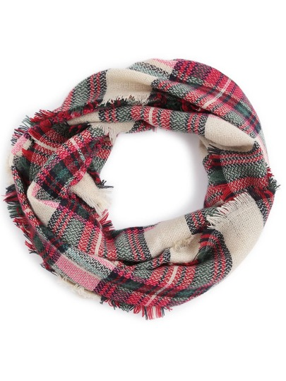Red And Green Plaid Raw Edge Infinity Scarf