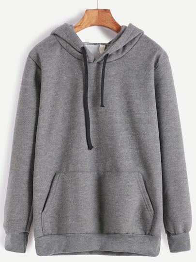 Dark Grey Hooded Pocket Sweatshirt