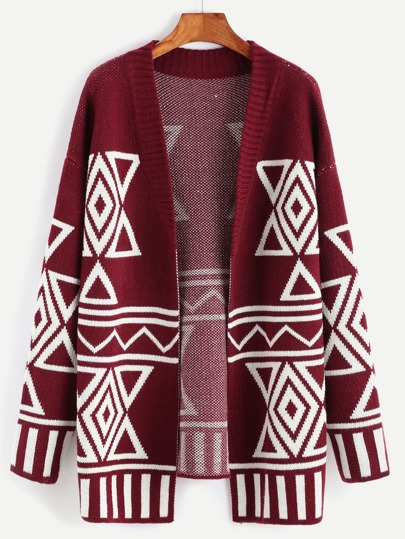 Burgundy Geo Pattern Open Front Sweater Coat