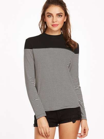 Black And White Striped Contrast Yoke T-shirt