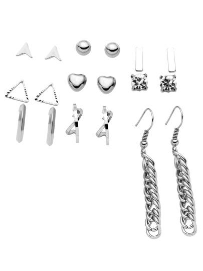 Silver Plated Multi Shape Earrings Set