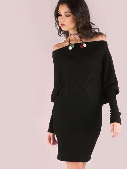 Pom Pom Tassel Thermal Dolman Dress BLACK