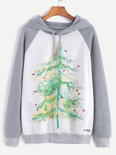 Color Block Christmas Tree Print Hooded Sweatshirt