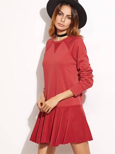 Red Tied Open Back Drop Waist Sweatshirt Dress