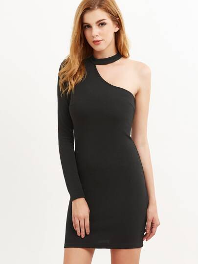 Black Halter One Shoulder Bodycon Dress