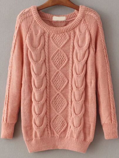 Pink Cable Knit Raglan Sleeve Sweater