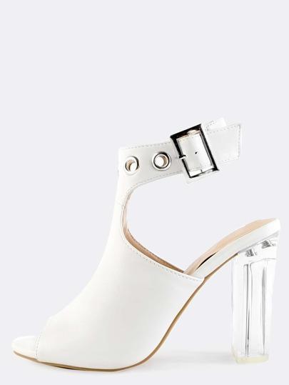 Perspex Metallic Eyelet Mule Boots WHITE