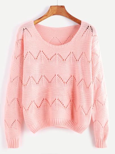 Pink Round Neck Eyelet Sweater