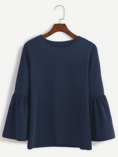 Navy Round Neck Bell Sleeve T-shirt