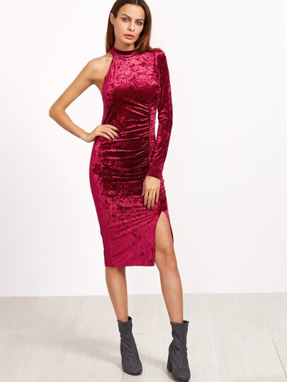 Burgundy One Shoulder Shirred Split Front Keyhole Back Velvet Dress