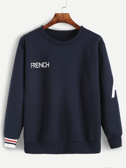 Navy Letter Print Striped Trim Sweatshirt