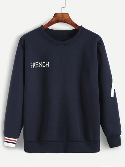 Sweat-shirt imprimé lettres à rayure - bleu marine
