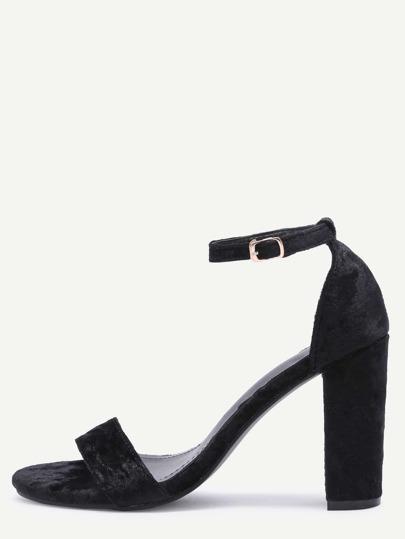 Zapatos de terciopelo con tira en tobillo - negro