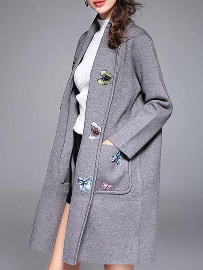 Grey Butterfly Applique Pouf Pockets Coat