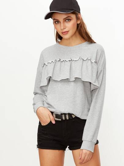 Heather Grey Ruffle Trim Sweatshirt