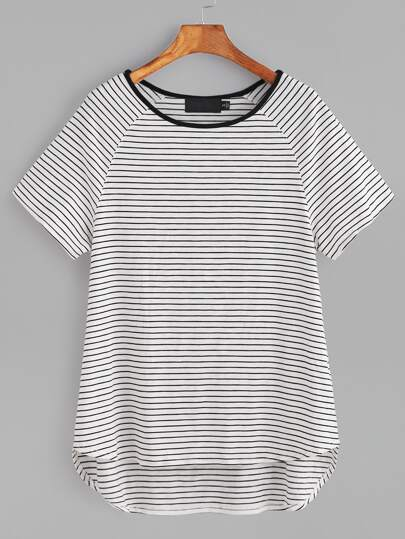White Striped Contrast Neck Raglan Sleeve High Low T-shirt
