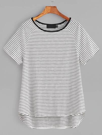 T-shirt mit Streifen Kontrast Kragen Raglan Ärmel-weiß