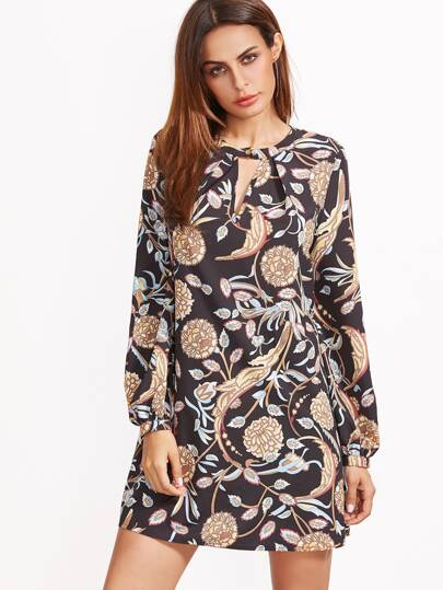 Black Botanical Print Keyhole Pleated Front Tunic Dress