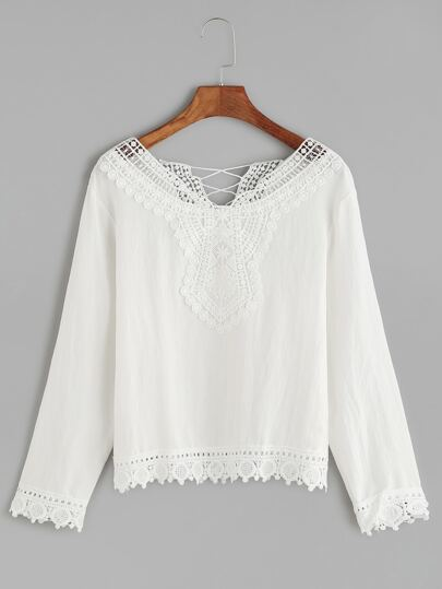 White Contrast Crochet Trim Blouse