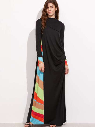 Black Colorful Striped Panel And Cuff Drape Side Tent Dress