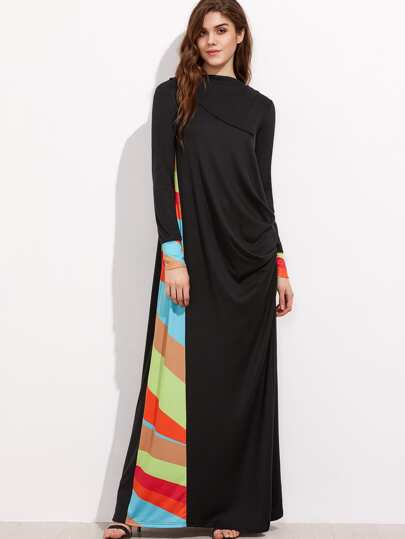 Colorful Striped Panel And Cuff Drape Side Maxi Dress