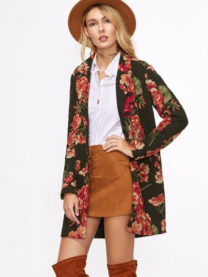 Multicolor Floral Single Button Quilted Coat