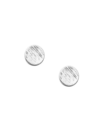 Silver Plated Coin Simple Stud Earrings
