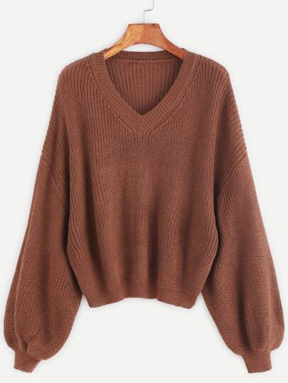 Khaki V Neck Drop Shoulder Lantern Sleeve Sweater