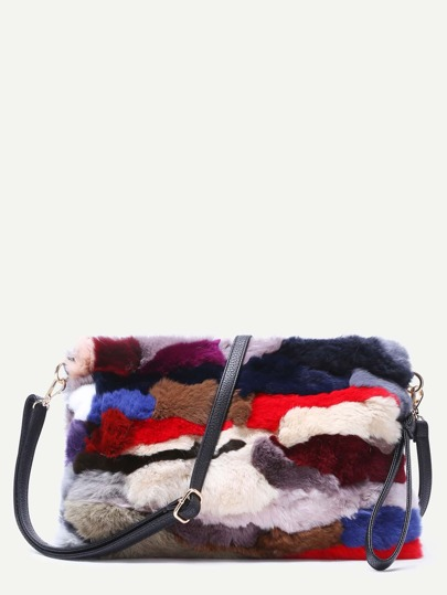 Color Block Cross Striped Rabbit Fur Shoulder Bag