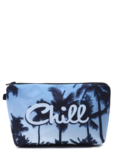 Blue Palm Tree Print Portable Cosmetic Makeup Bag