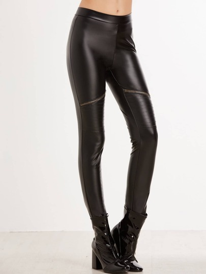 Zipper Detail Coated Leggings