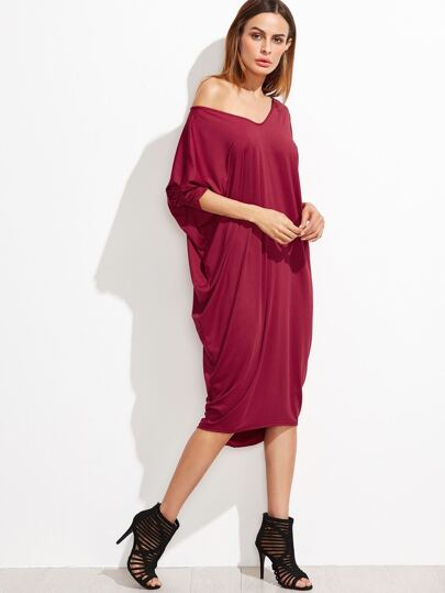 Burgundy V Neck Cut Out Back Dip Hem Dress