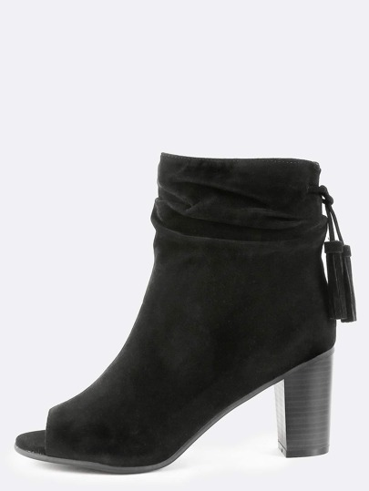 Stacked Heel Suede Ankle Booties BLACK
