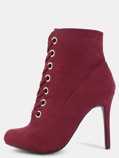 Almond Toe Suede Stiletto Booties BURGUNDY