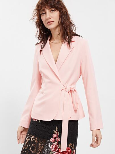 Pink Slim Fit Wrap Blazer
