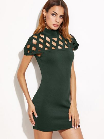 Dark Green Laser Cut Out Zipper Back Bodycon Dress