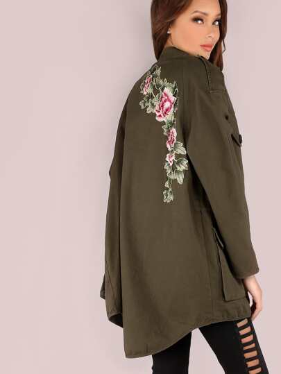 Oversized Embroidered Hoodless Utility Jacket OLIVE