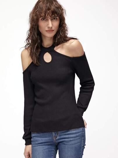 Black Ribbed Knit Keyhole Halter Neck Cold Shoulder T-shirt