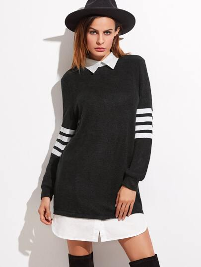 Black Contrast Collar And Hem Striped Sleeve Sweatshirt Dress