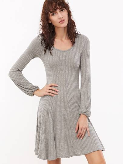 Robe balançoire à nervures tricoté décolleté manche de lanterne -gris