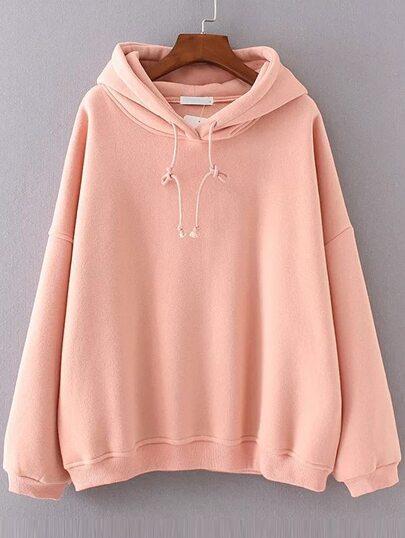 Pink Drop Shoulder Hooded Oversized Sweatshirt