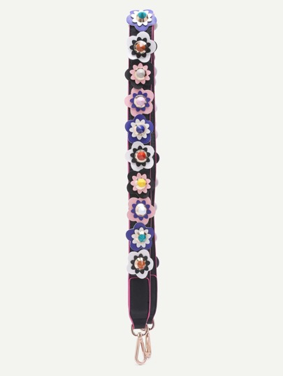 Courroie en cuir PU avec patch floral - multicolore
