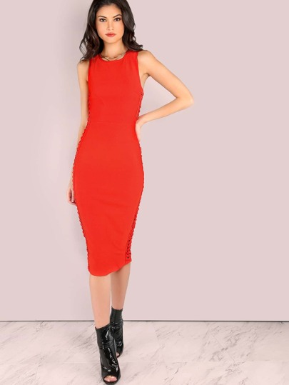 Side Strap Weave Bandage Bodycon Midi Dress DARK ORANGE