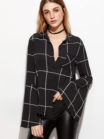 Black Grid Ruffle Sleeve Blouse