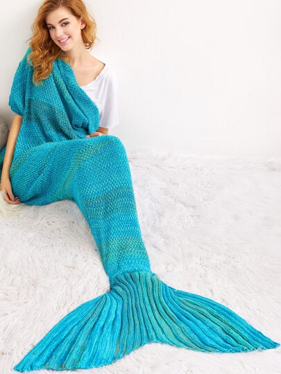 Turquoise Knit Textured Mermaid Blanket