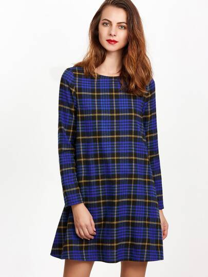 Blue Plaid Bow Embellished A Line Dress